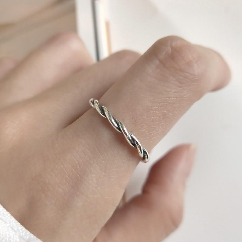 LouLeur 925 Sterling Silver Twisting Line Rings Silver Vintage Weave Elegant Slim Open Rings For Women Elegant Fine Jewelry Gift