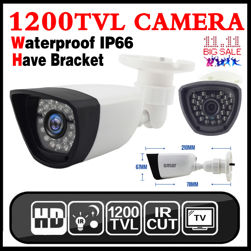 Free shipping 1/4Cmos 1200TVL Hd Mini Cctv Camera Outdoor Waterproof 24Led Night Vision Small Video monitoring security vidicon new micro cone 3 7mm lens hd 1 4cmos 1200tvl small color analog video cctv security mini camera surveillance metal have bracket