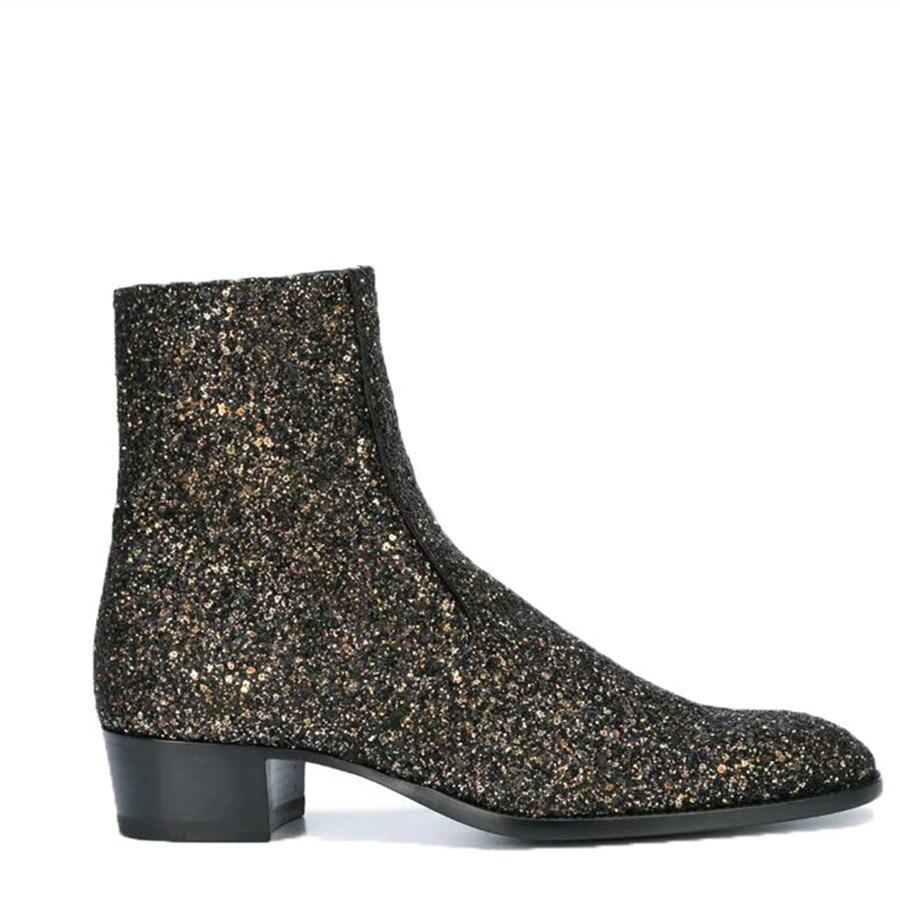 اليدوية مطرزة القماش جلد طبيعي سستة الرجال مأدبة أحذية كاجوال شخصية الزفاف صالح سليم نحيل الأحذية-في أحذية برقبة أساسية من أحذية على  مجموعة 1