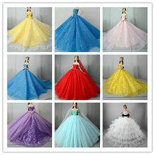 New Arrival DIY Handmade Party Dress For Barbie Doll Toys For ChildrenDoll Clothes Beautiful Wedding Dress Beautiful(China)