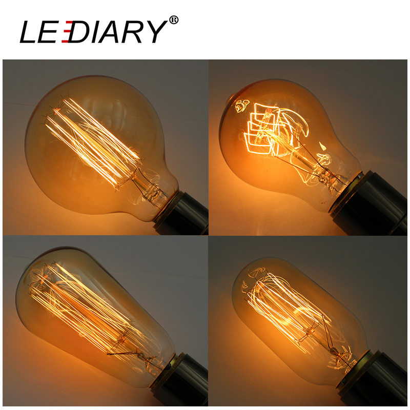 LEDIARY E27 Carbon Filament Bulb A60 A19 ST64 T45 G95 Vintage Edison Amber Bulb 2700K 40W 110V/220V Incandescent Bulb