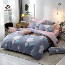 ParkShin Simple Style Bedding Set Pink Bed Flat Sheet Adult Double Bedspread Flowers Duvet Cover Set 3/4Pcs Pillowcase Cover Set bedding set полутораспальный сайлид red flowers