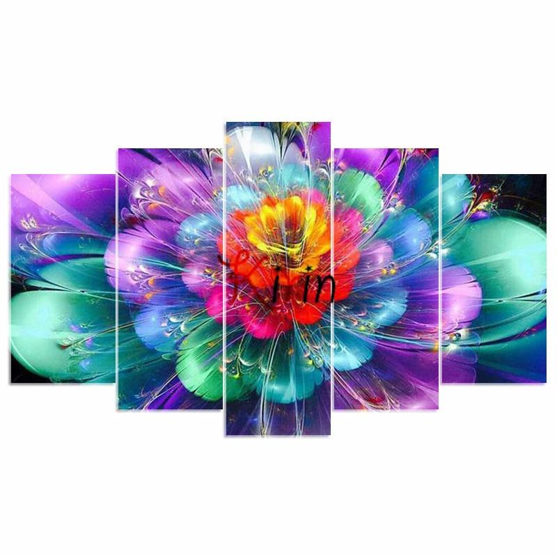 5D DIY Diamond embroidery colorful flower diamond painting Cross Stitch full drill Rhinestone mosaic home decoration_