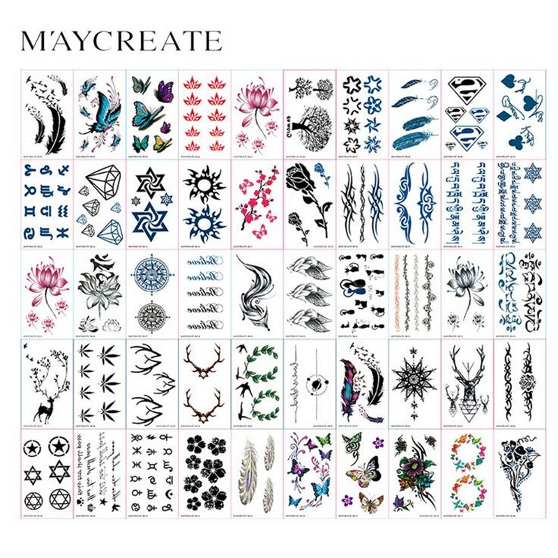 MayCreate 60pcs Colorful Butterfly Feather Flowers Body Art Sexy Waterproof Art Temporary Tattoo Stickers For Man Woman