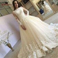 Custom Made High End Quality A Line Long Sleeve Lace Elegant Formal Bride Wedding Dresses Robe