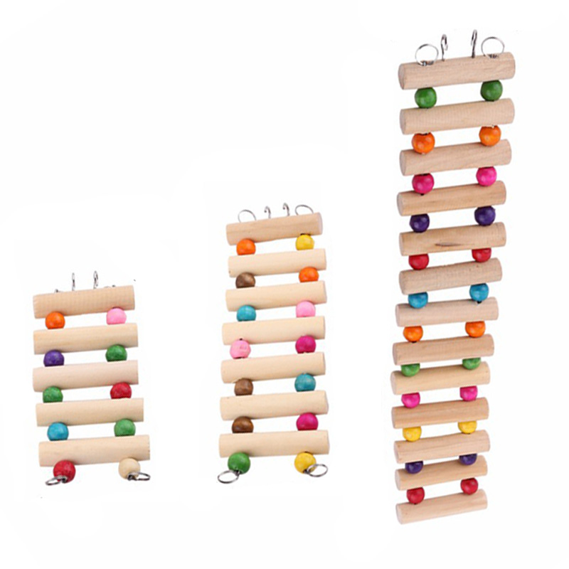 1pcs Hamster Climbing Stairs Toy Guinea Pig Chinchilla Parrot Seesaw Exercise Play Toys Small Wooden Toys For Small Animals M10