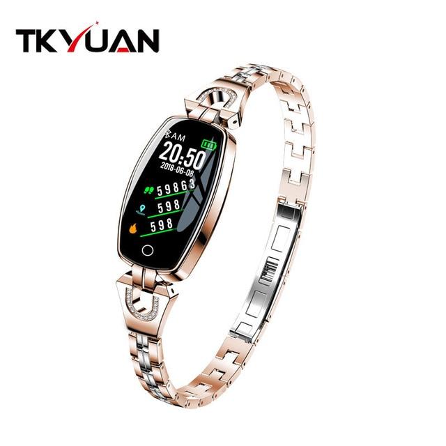 TKYUAN H8 women smart  Fitness bracelet Heart Rate Monitor blood pressure blood IP67 Waterproof  smart watch best gift for Lady
