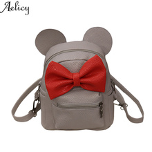 Фотография Aelicy Cute Mickey Backpack Women Sweet Bow Backpacks Girls Small PU Leather School Bag Teenager Preppy Style Student Bags D35