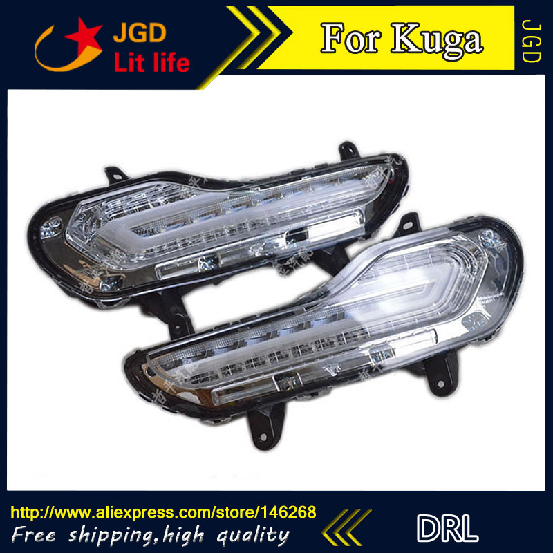 Free shipping ! 12V 6000k LED DRL Daytime running light for Ford Kuga 2013-2015 fog lamp frame Fog light sunkia 2pcs set led drl daytime running light fog driving light guide light style for ford kuga escape free shipping