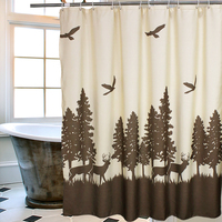 Natural Waterproof Deer In The Forest Shower Curtain Beige Coffee Mildewproof Polyester Fabric Kids Bathroom Curtain