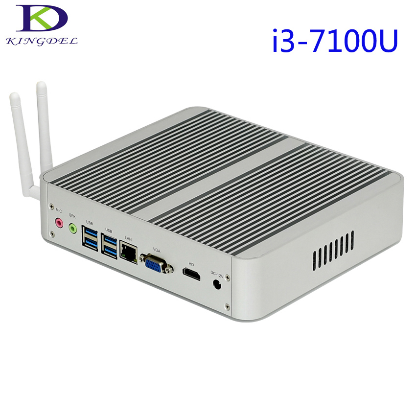 2017 Newest Intel I3 7100U Dual Core Fanless Mini Desktop PC Nettop Ultra HD 4K 1000M LAN HDMI VGA 4USB3.0,Wifi,Windows 10 Pro