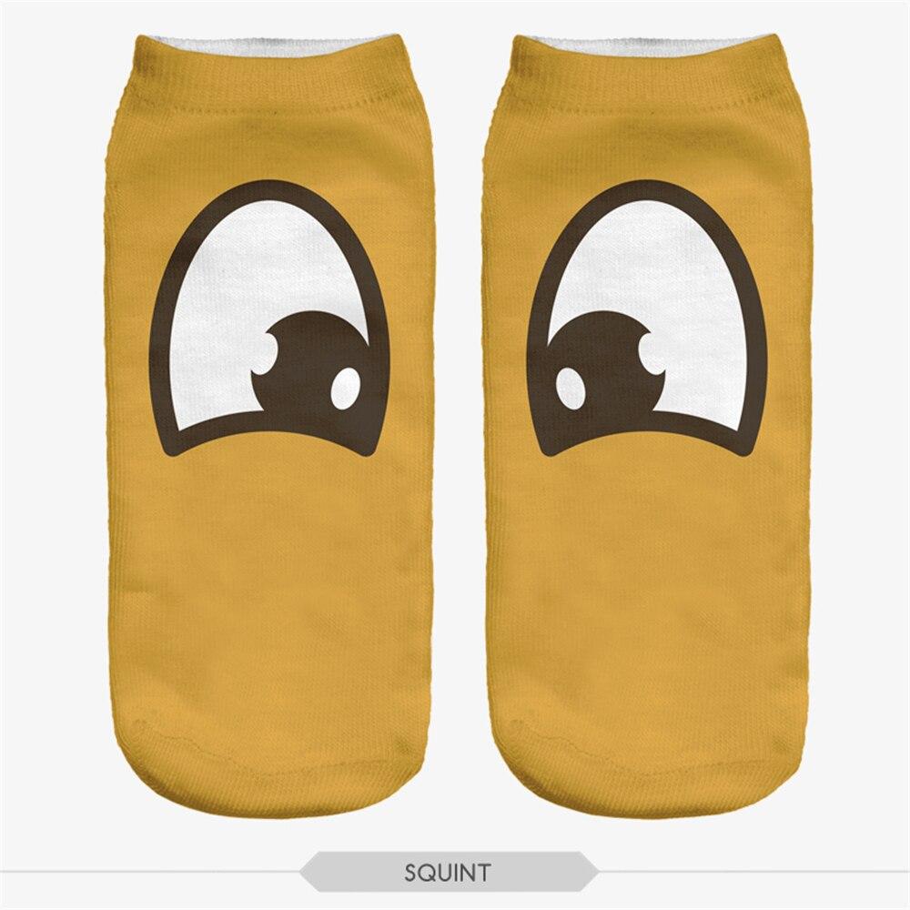 Fashiion Yellow Art Eyes Multiple Colors Harajuku Style 3D Printed Ankel Socks Women kid Harry Leonardo Casual Socks Unisex