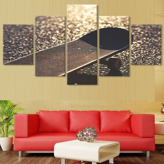5 Pieces Canvas Wall Art Canvas Painting Skateboard Landscape Wall ...