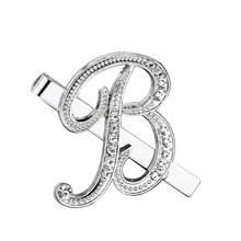 Nieuwe A-Z Brief Shiny Rhinestone Tie Clip Business Bruiloft Stropdas Pin Klem Stickpin(China)