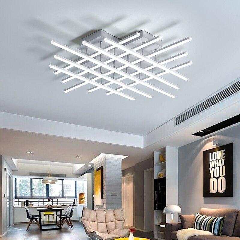 DX nouveauté LED plafonniers Luminaire pour salon télécommande lampe décor à la maison lumière Dimmable Lustre entrelacement Luminaire