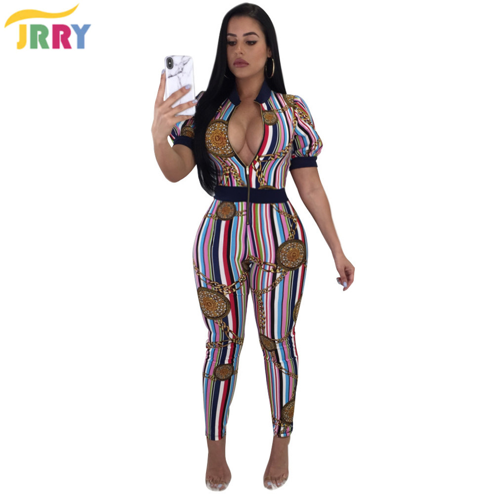 a03bd5cbd9b JRRY Casual Bodycon Striped Women Jumpsuit Short Sleeve Zippers Top Long  Skinny Pants Ladies Jumpsuits Bodysuit