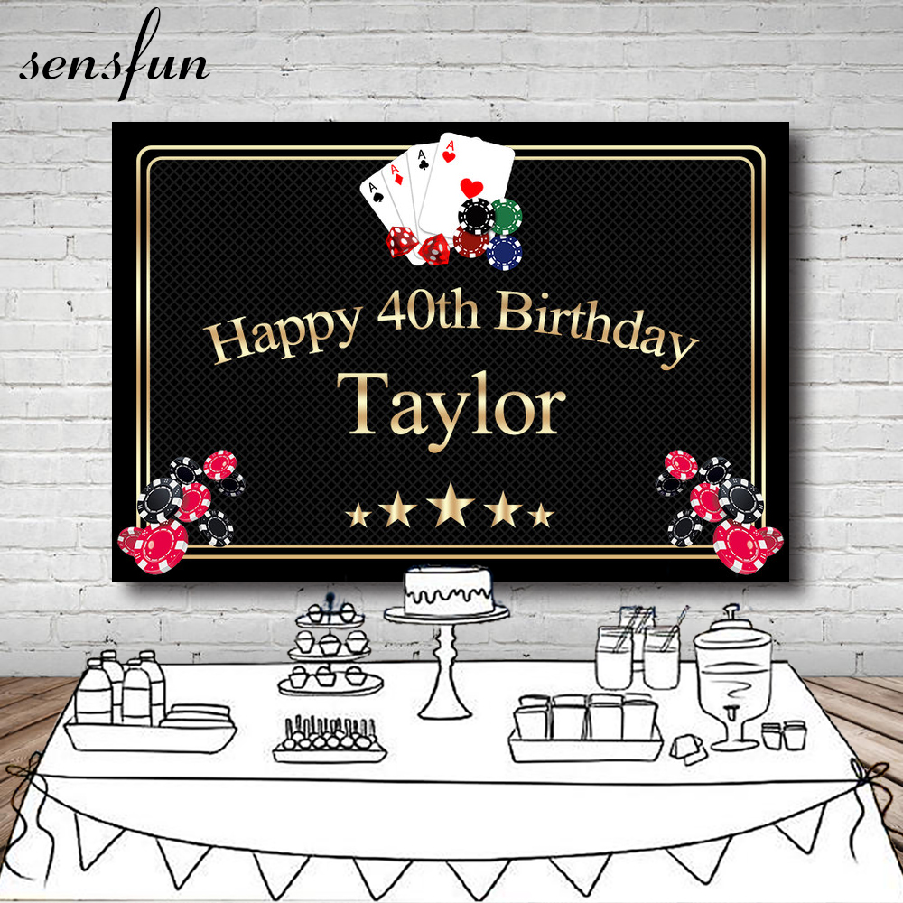 Sensfun Casino Las Vegas Card Party Backgrounds For Photo Studio Black Gold Frame Text Happy <font><b>40th</b></font> <font><b>Birthday</b></font> <font><b>Backdrop</b></font> 7x5ft Vinyl image