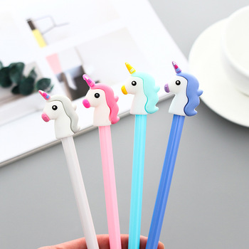1 pcs South Korea Cartoon Unicorn Signature Pen Neutral Pen for Students Office Pen Test Ink Pen Black image