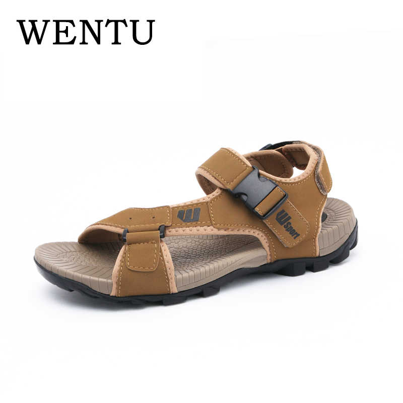 043422a26f3c0f Detail Feedback Questions about WENTU Fashion Men Sandals Leather  Comfortable Summer Sandals Men Sea Shoes Outdoor Leather Sandals Mens Plus  Size 11 on ...