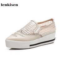 Lenkisen genuine leather pointed toe slip on hollow pattern causal shoes high heel running breathable women vulcanized shoes L12