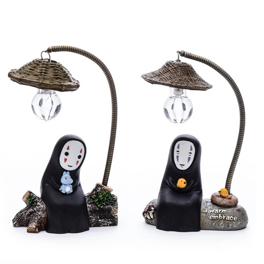 Table Kids Toy Decor Lamp Japanese Anime Studio No Face Cartoon Character LED Night Light Doll Spirited Away Resin Action Figure free shipping anime cartoon miyazaki hayao spirited away no face music box pvc action figure collection toy doll 12cm mhfg018