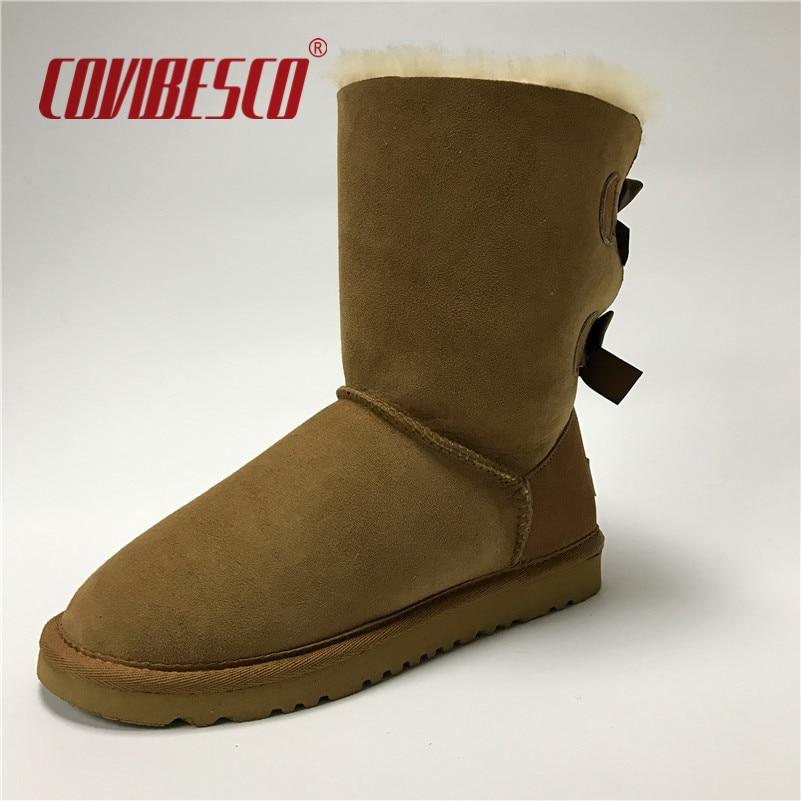 ФОТО COVIBESCO Women Australia Classic 100% Sheepskin Mid-calf Snow Boots Warm Winter Bowknot Fur Boots Flats Short Snow Boots Shoes