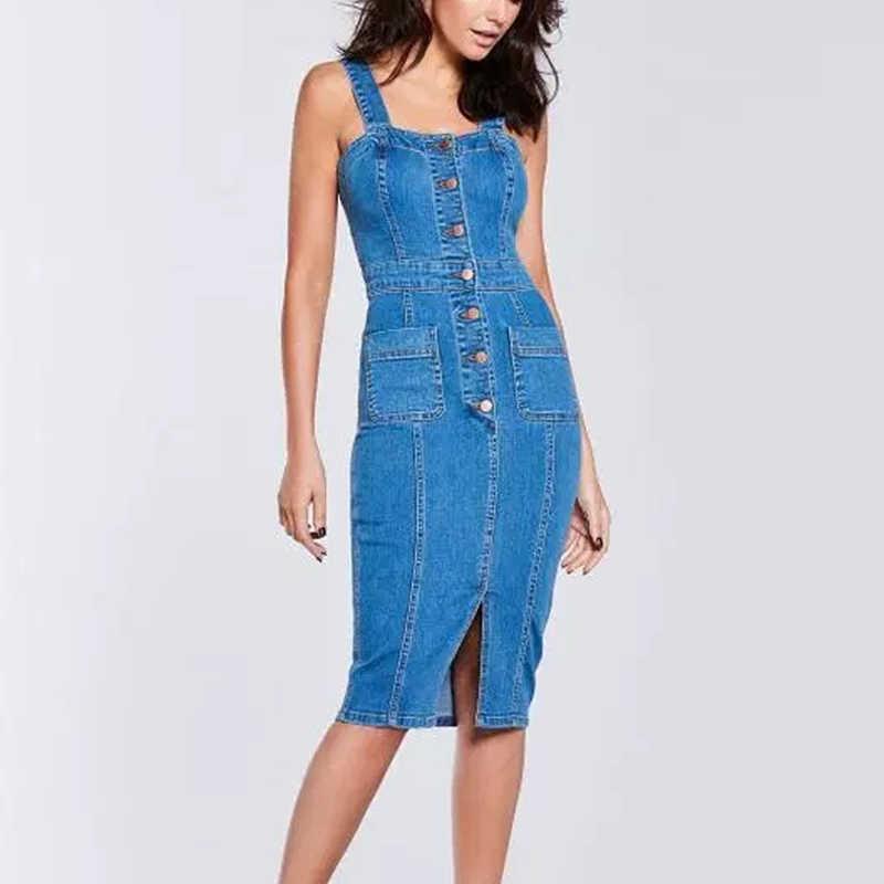 302959f020e Beyprern Michelle Keegan Denim Midi Dress Womens Vintage Buttoned Jeans  Dress Suspender Denim Sundress Overalls