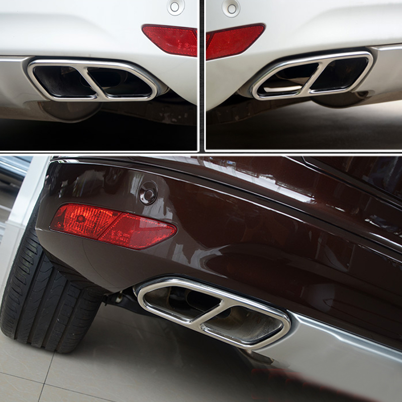 For VOLVO XC60 2015 2016 2017 Stainless Steel Rear Exhaust Muffler Tail Pipe Cover Decoration Trim