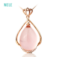 Natural Pink Crystal Silver Pendant Pears 13 18 Silver 925 And Rose Gold Plated Beautiful And