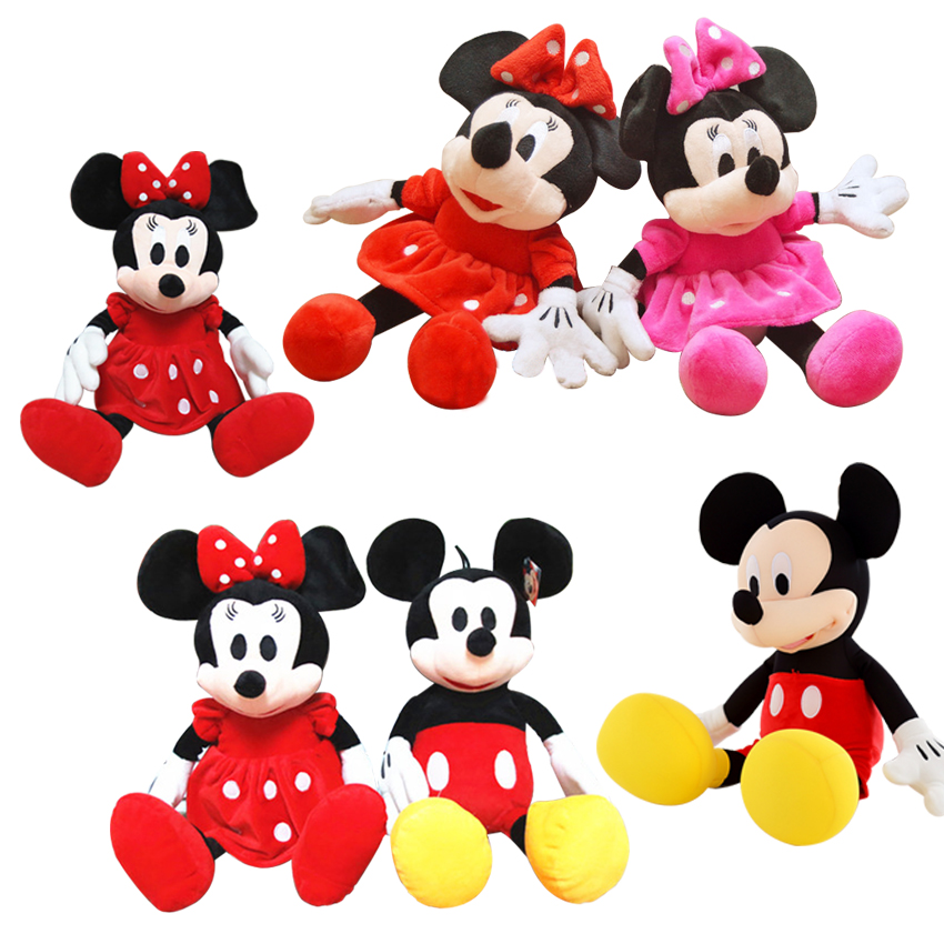2pcs/lot 28cm Minnie and Mickey Mouse Super Classic Plush Doll Stuffed Animals Plush Toys for Children's Gift 1pcs 28cm minnie and mickey mouse low price super plush doll stuffed animals plush toys for children s gift