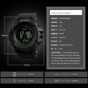 Image 5 - SKMEI Brand Mens Digital Watch Hours Pedometer Calories Men Watch Altimeter Barometer Compass Thermometer Weather Sports Watches