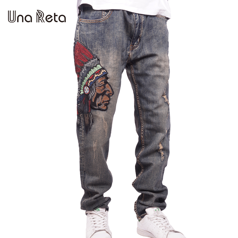 Una Reta Men Straight Denim Jeans Trousers 2017 New Fashion Embroidery Cotton Denim Brand Pant Plus Size Casual Trousers For Man new men slim straight locomotive jeans denim jeans cowboy fashion business designer famous brand men s jeans trousers pant 29 36