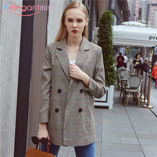 Aelegantmis 2018 New Classic Houndstooth Women Blazers Casual Notched Double Breasted Long Blazer Jacket Office Lady Coats(China)