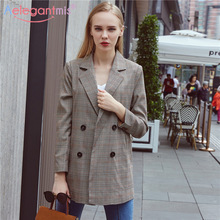Aelegantmis 2019 Classic Houndstooth Women Casual Notched Double Breasted Long Blazer