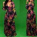2017 Женская Мода Дамы Сексуальная Цветочные Длинным Рукавом Глубокий V Шеи Макси Wrap Dress