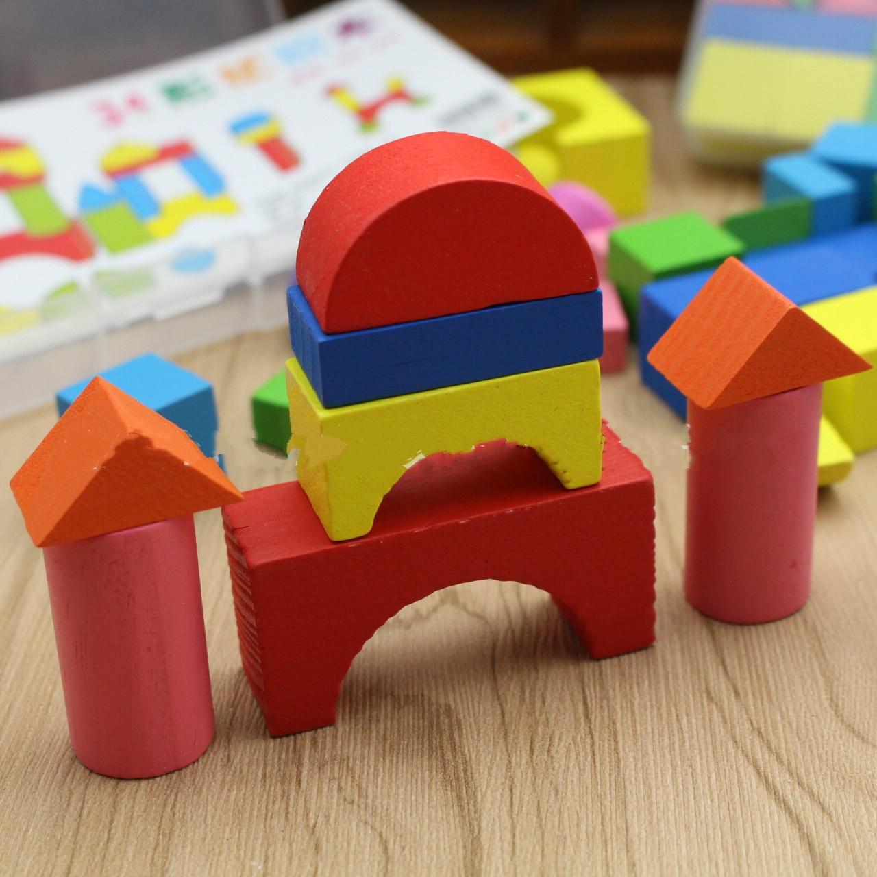 34 peças de madeira castelo arquitetura crianças