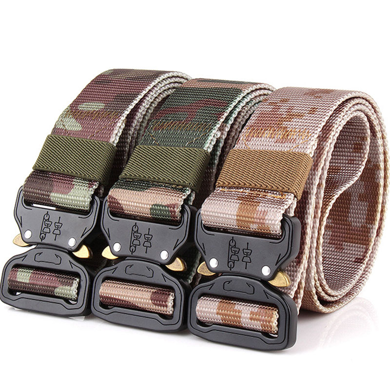 Tactical Gear Knock Off Army Camo Belt Mens Quickly Unlock Belt Heavy Duty US Soldier Combat 100% Nylon Waistband 1.5 Hunting ...