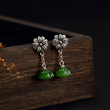 New Fashion silver S925 pure natural Hetian jade antique mosaic lotus lady high-end earrings wholesale