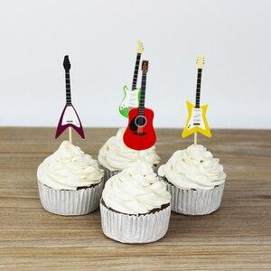 Image 2 - BESTOYARD 24 stks/set Gitaar Cupcake Toppers Picks Muziekinstrument Vorm Taart Decoreren Gereedschappen voor Birthday Party Decor