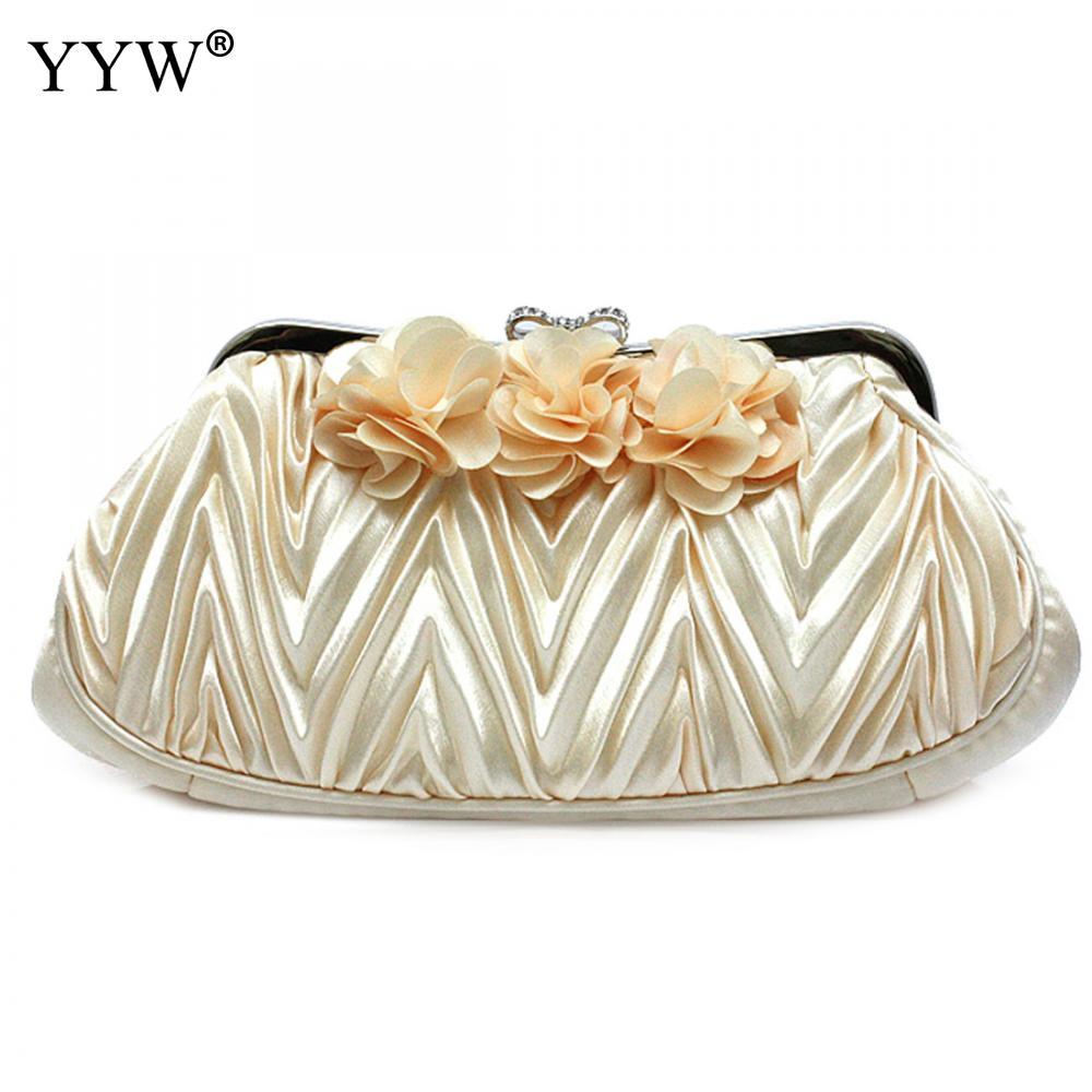 YYW Floral Evening Bags Women Clutch Bag Luxury Wedding Handbag Bow Rose Fashion Purses And Handbags Bolsas De Couro Feminina
