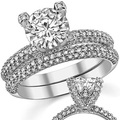 LASAMERO 2 CT Pave Accent Style ASCD Lab Grown Diamond 9K White Gold Diamond Engagement Ring Diamond Wedding Ring Set