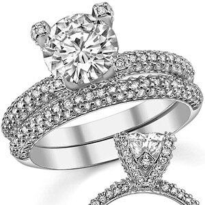 LASAMERO 2 CT Pave Accent Style ASCD Lab Grown Diamond 9K White Gold Diamond Engagement Ring Diamond Wedding Ring Set