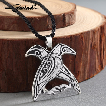 Norse Viking Mythology Jewelry Odin's Ravens Pendant Necklace Double Bird Talisman Necklaces Men fashion Jewelry image