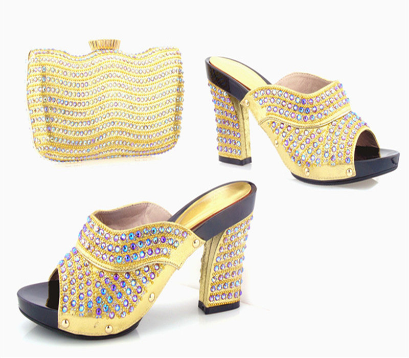 Hot Artist Summer Style Women Pump Shoes And Bag Set Fashion Rhinestone High Heels Slipper Shoes And Bag Set For Party Dress