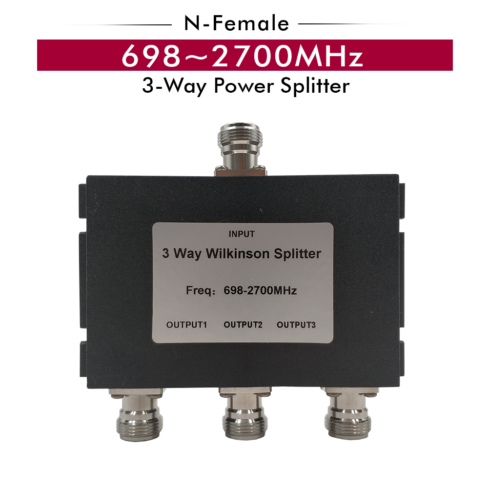 698~2700MHz 3-Way N-Female Splitter Power Divider For CDMA 850/ GSM 900/DCS 1800/PCS 1900/WCDMA 2100/ LTE 2600MHz Signal Booster
