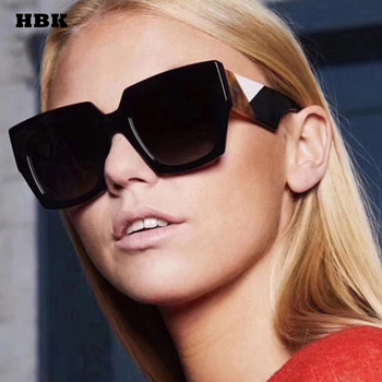 HBK 2018 Big Oversized Square Fashion Style New Women Sunglasses Gradient UV400 Spring Goggle Summer Outdoor Vintage Driving
