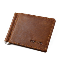 Crazy Horse Credit Card Holder For Money Charge Clip Vintage Man and Women Wallet Fashion Business Card Holder