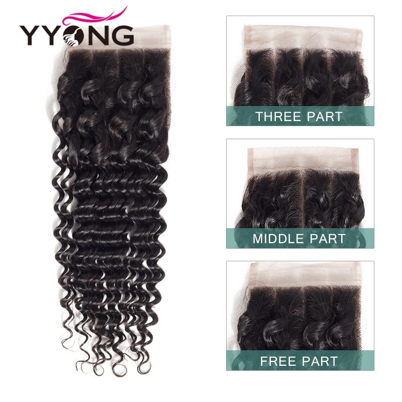 Yyong Hair Deep Wave 3 Bundles With Lace Closure  Bundles Medium Ratio   With Closure 4x4 inch 6