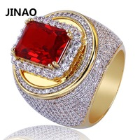 JINAO Hip Hop Micro Pave Big Red CZ Stone Ring All Iced Out Bling Rings for Male Female Jewelry with 7,8,9,10,11 Size