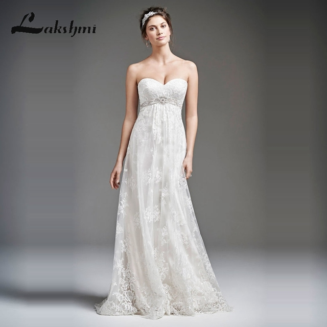 Empire Lace Wedding Dresses for Pregnant Woman Sweetheart Beaded ...